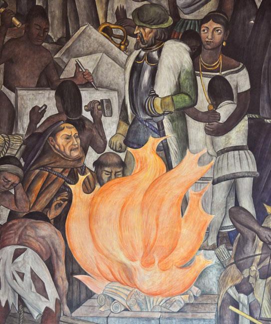 Mural de Diego Rivera. Tomado de: http://www.mexicolore.co.uk/aztecs/spanish-conquest/dona-marina-part-2