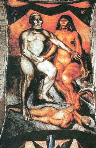 Mural de José Clemente Orozco. Tomado de: http://www.historians.org/teaching-and-learning/classroom-content/resources/teaching-and-learning-in-the-digital-age/the-conquest-of-mexico/image-exercises/jose-clemente-orozco-cortes-and-malinche